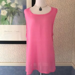 Pink Sleeveless Sheer Tunic Top